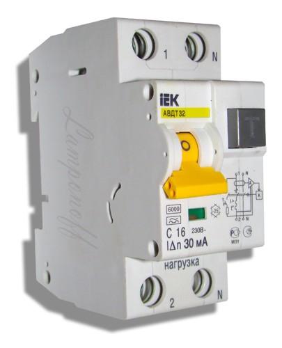 Автоматический выключатель дифф. тока АВДТ 32 С16 IEK