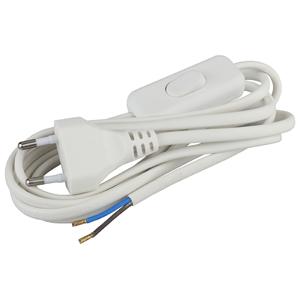 Шнур для бра BR2(W) ЭРА  2x0.75мм2 1,8м с выкл белый