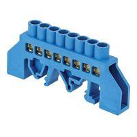 """Шина """"N"""" нулевая тип """"стойка"""" в комбинированном изоляторе на DIN-рейку  6x9мм 8 отверстий синяя ETP"""