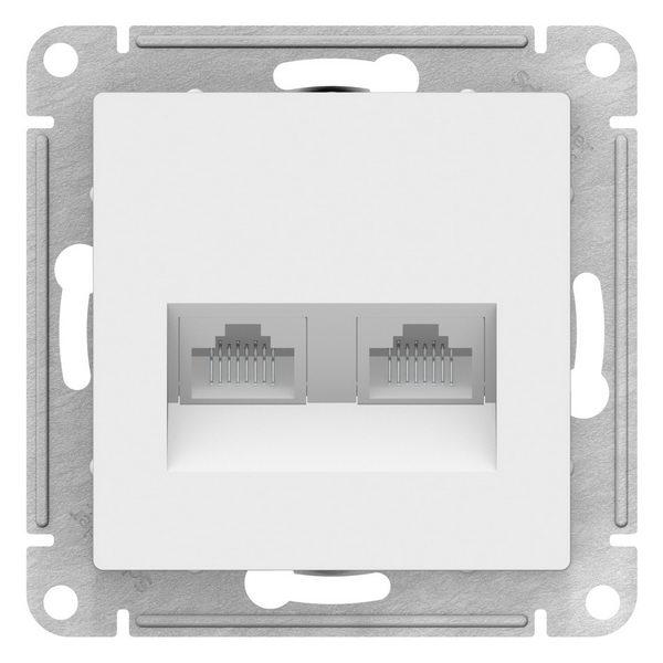ATN000185 ATLASDESIGN РОЗЕТКА двойная компьютерная RJ45+RJ45, кат.5E , механизм, БЕЛЫЙ