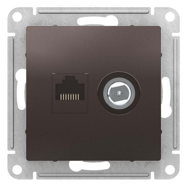 ATN000689  ATLASDESIGN РОЗЕТКА двойная комп+ТВ, RJ45+TV, кат.5E, механизм, МОККО