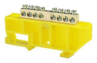 """Шина """"N"""" нулевая на DIN-изоляторе  8 отверстий желтая ETP"""