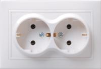 Розетка 2-местная РС12-3-КБ с заземляющим контактом без защитной шторки  16А керамика КВАРТА белый IEK