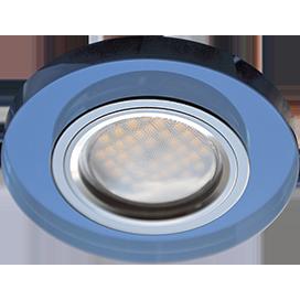 Светильник встроенный MR16 Круг Голубой/Хром
