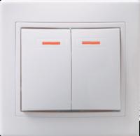 Выключатель 2-клавишный с индикацией  ВС10-2-1-КБ 10А КВАРТА белый IEK