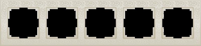 WL05-Frame-05-ivory/Рамка на 5 постов (слоновая кость)
