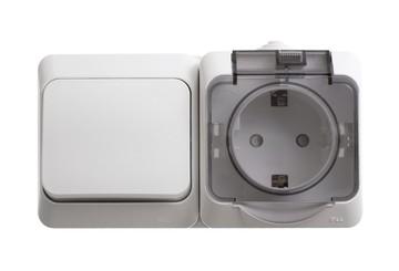 Блок: розетка с крышкой + 1-кл. выкл. IP44