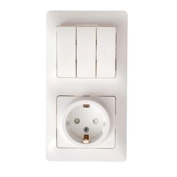 Блок: розетка с заземлением и шторками+ 3-кл. выкл.