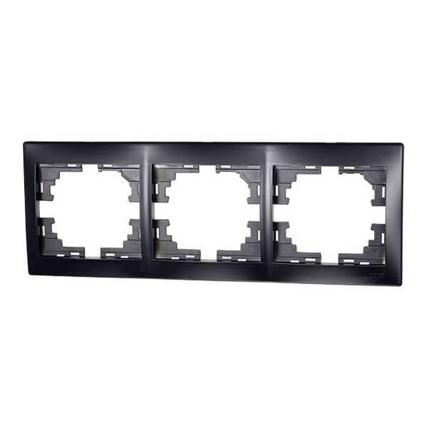 Рамка 3-ая горизонтальная черный бархат без вставки MIRA 701-4200-148