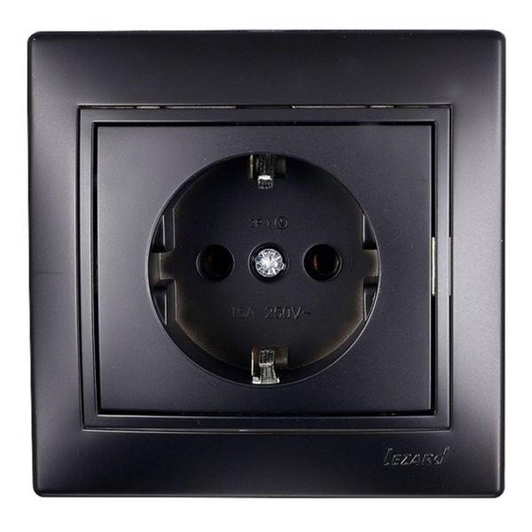 701-4242-122 Розетка с/з керамика MIRA черный бархат